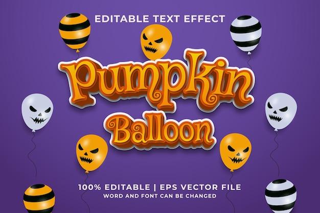 Estilo de modelo de efeito de texto editável de balão de abóbora, vetor premium