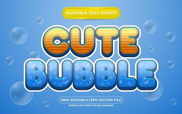 Estilo de modelo de efeito de texto editável de bolha fofa