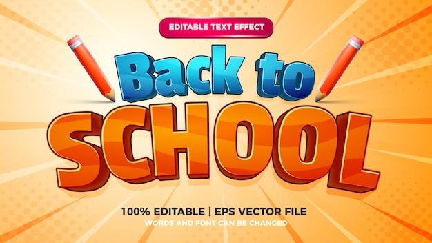 Estilo de modelo de efeito de texto editável de desenho animado de volta às aulas em fundo de quadrinhos de meio-tom