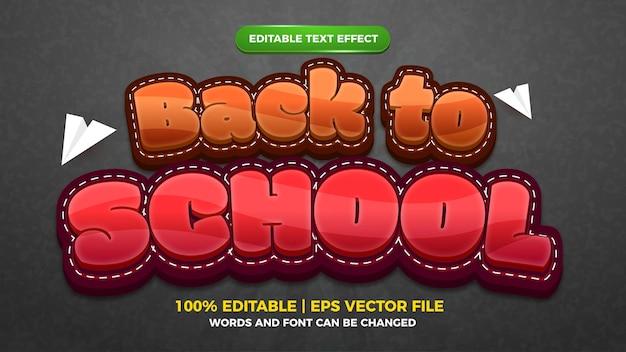 Estilo de modelo de efeito de texto editável de desenho animado de volta às aulas