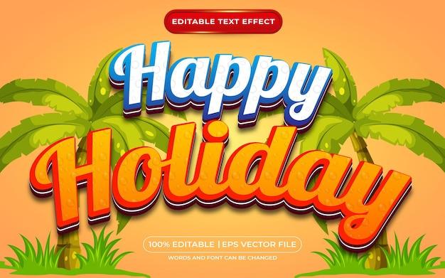 Estilo de modelo de efeito de texto editável de feliz feriado