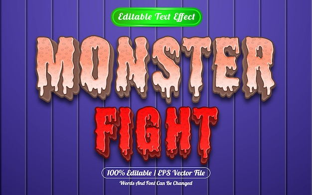Estilo de modelo de efeito de texto editável de luta de monstros