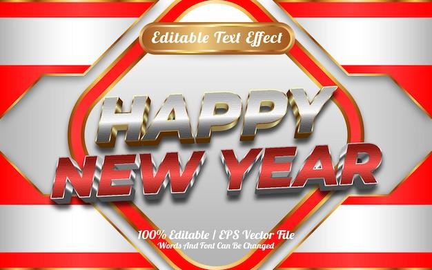 Estilo de modelo de efeito de texto editável de ouro feliz ano novo