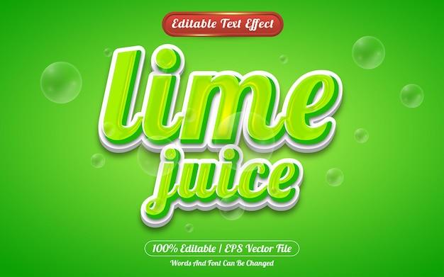 Estilo de modelo de efeito de texto editável de suco de limão