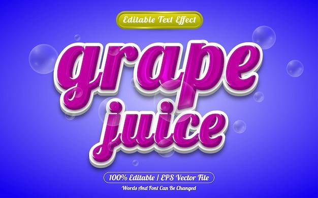 Estilo de modelo de efeito de texto editável de suco de uva