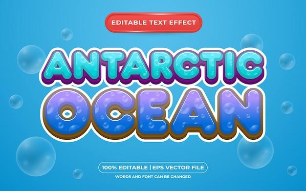 Estilo de modelo de efeito de texto editável do oceano antártico