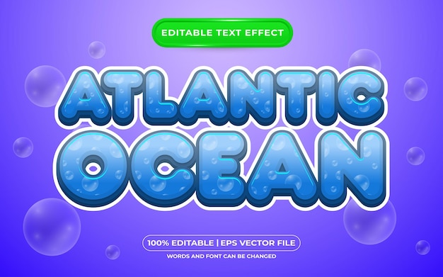 Estilo de modelo de efeito de texto editável do oceano atlântico