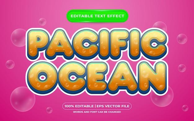 Estilo de modelo de efeito de texto editável do oceano pacífico