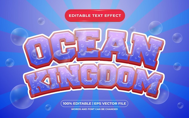 Estilo de modelo de efeito de texto editável do reino do oceano