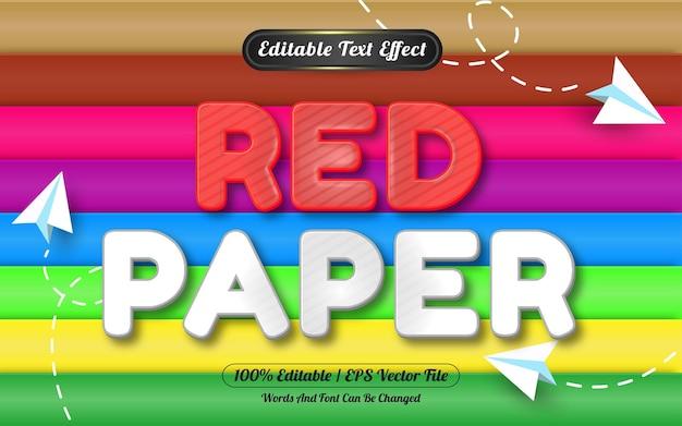 Estilo de modelo de efeito de texto editável em papel vermelho