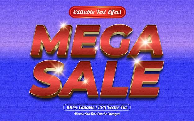 Estilo de modelo de efeito de texto editável mega sale Vetor Premium
