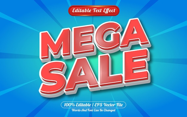 Estilo de modelo de efeito de texto editável mega venda em 3d