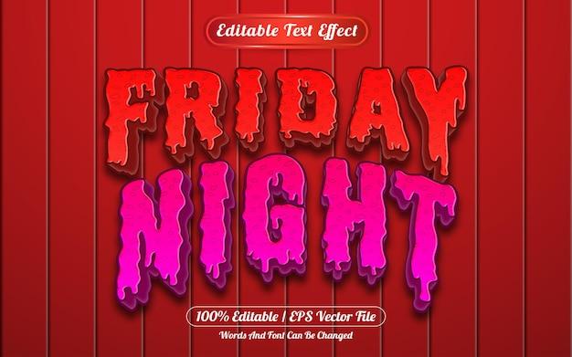Estilo de modelo de efeito de texto editável na sexta à noite