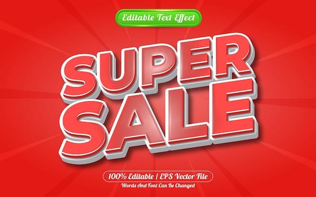 Estilo de modelo de efeito de texto editável super venda em 3d