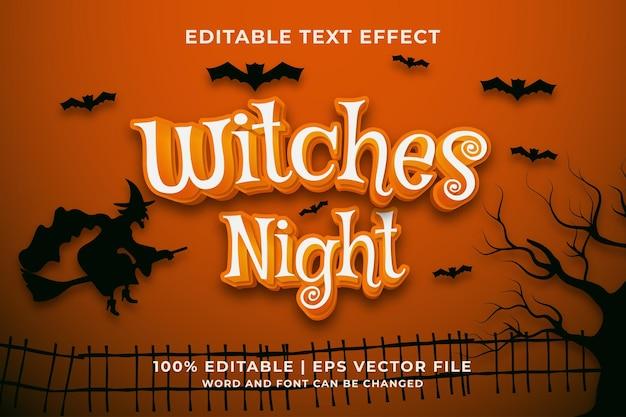 Estilo de modelo de efeito de texto editável witches night premium vector