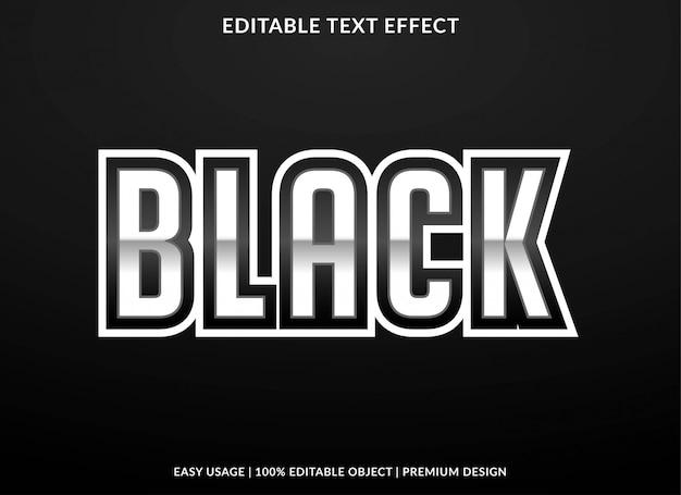 Estilo de modelo de efeito de texto em preto