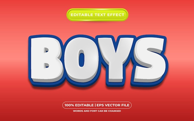 Estilo de modelo de efeitos de texto editável para meninos