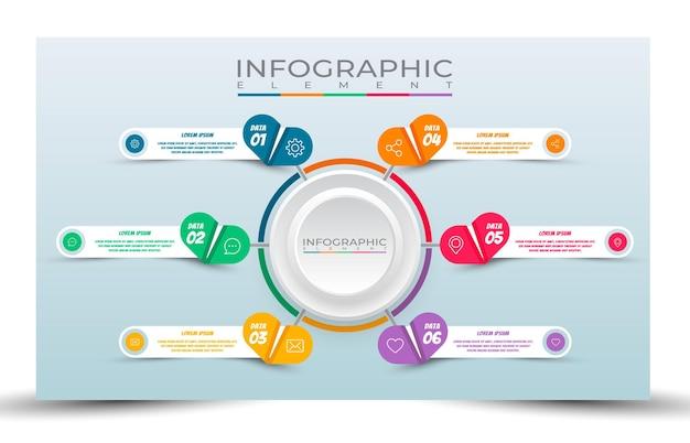 Estilo de modelo de infográfico de negócios de 6 etapas