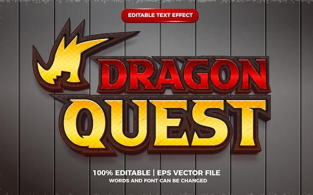 Estilo de modelo de jogo de desenho animado com efeito de texto editável dragon quest 3d