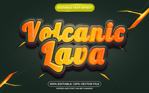 Estilo de modelo de lava vulcânica com efeito de texto editável
