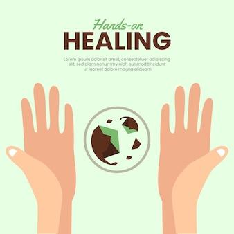 Estilo de modelo de mãos de cura energética