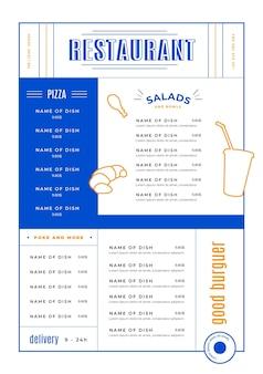 Estilo de modelo de menu de restaurante digital