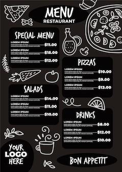 Estilo de modelo de menu de restaurante
