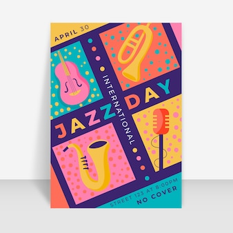 Estilo de modelo de panfleto de dia internacional do jazz