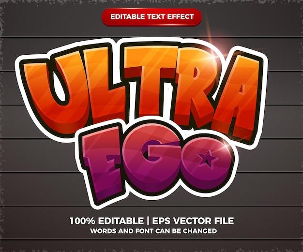 Estilo de modelo de quadrinhos de desenho animado com efeito de texto editável ultra ego