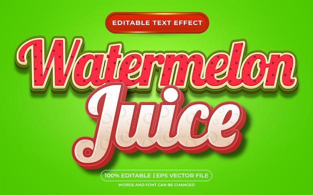 Estilo de modelo de suco de melancia com efeito de texto editável
