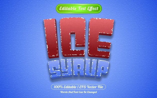 Estilo de modelo de xarope de gelo com efeito de texto editável