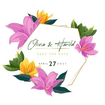 Estilo de moldura floral casamento