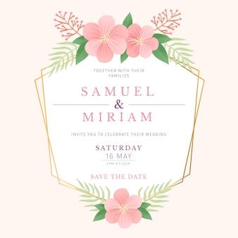 Estilo de moldura floral de casamento elegante