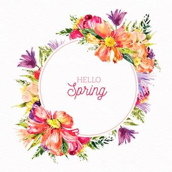 Estilo de moldura floral primavera aquarela
