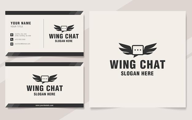 Estilo de monograma do modelo de logotipo de chat vintage da asa