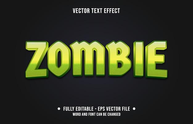 Estilo de monstro zumbi verde com efeito de texto editável