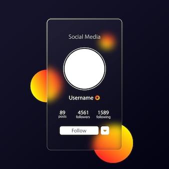 Estilo de morfismo de vidro. informações de perfil de visualização de mídia social. botão seguir. efeito de morfismo de vidro realista com conjunto de placas de vidro transparente.