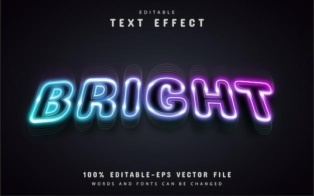 Estilo de néon com efeito de texto brilhante