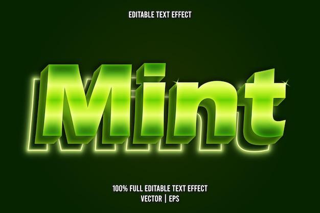 Estilo de néon com efeito de texto editável mint