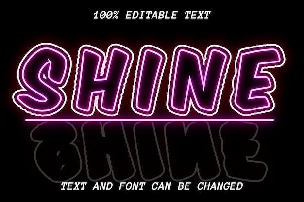Estilo de néon com efeito de texto editável shine