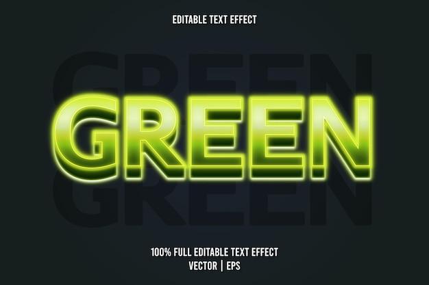 Estilo de néon com efeito de texto editável verde