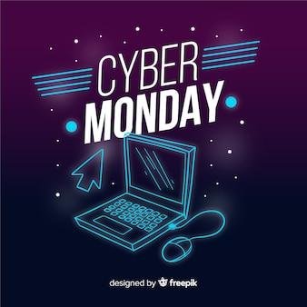 Estilo de néon cyber segunda-feira vendas fundo