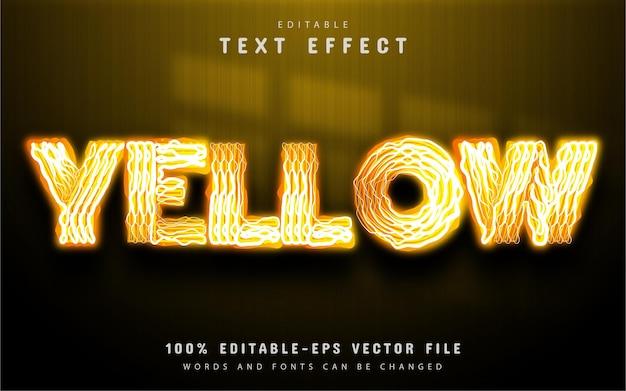 Estilo de néon de efeito de texto amarelo