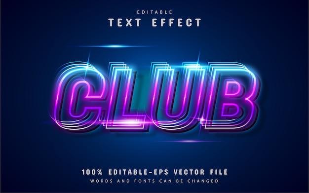 Estilo de néon de efeito de texto clube
