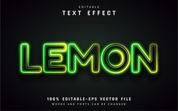 Estilo de néon de efeito de texto limão