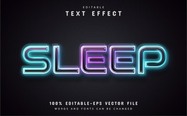 Estilo de néon de efeito de texto para dormir