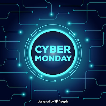Estilo de néon de fundo cyber segunda-feira venda