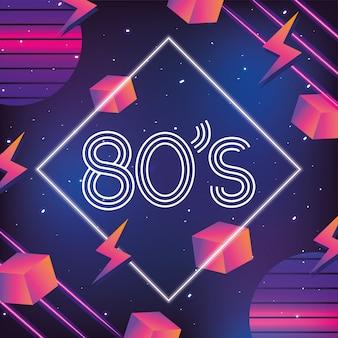 Estilo de néon geométrico com gráfico dos anos 80
