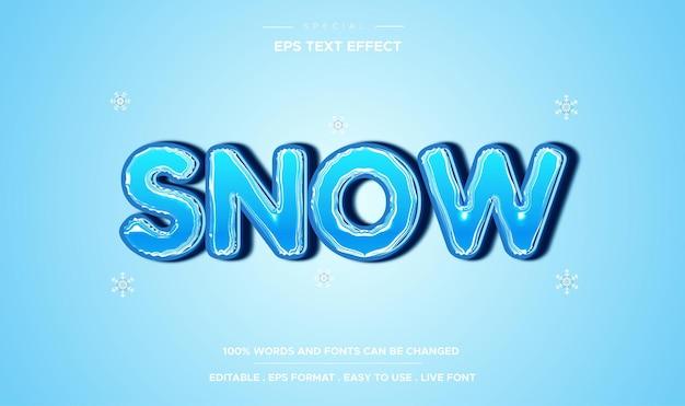 Estilo de neve de efeito de texto editável