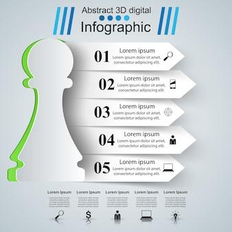 Estilo de origami de infográficos de negócios.